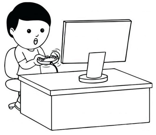 boy playing games on computer coloring picture