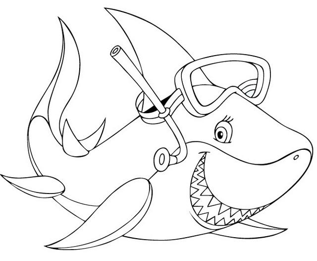 cartoon shark using scuba coloring sheet