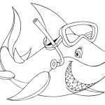 cartoon shark using scuba coloring sheet