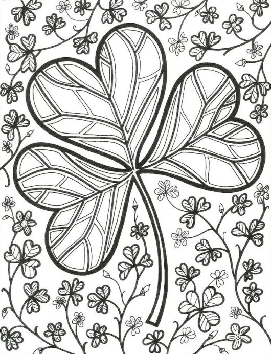 complicated shamrock coloring page - Shamrock Coloring Pages