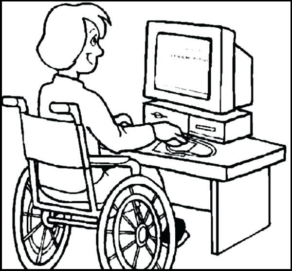disability girl utulizing technology computer coloring sheet