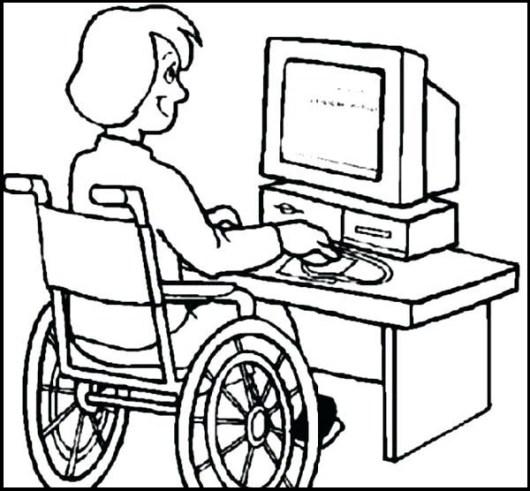 disability girl utulizing technology computer coloring sheet