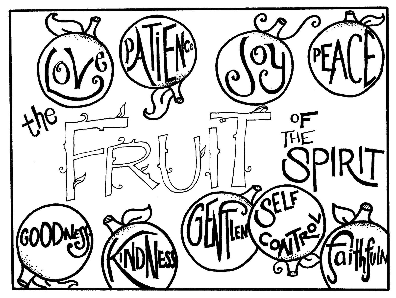 Fruit Of The Spirit For Good Characters Coloring Page