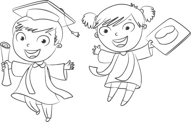 fun graduation coloring page for boys and girls