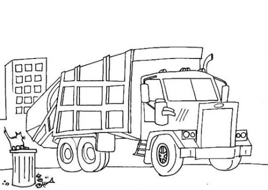 garbage and recycle dump truck coloring page sheet