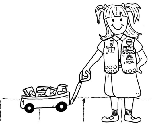 girl scout bringing cookie coloring picture