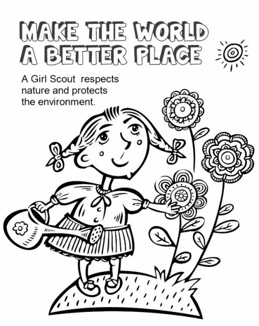 girl scout care the nature and environment coloring sheet
