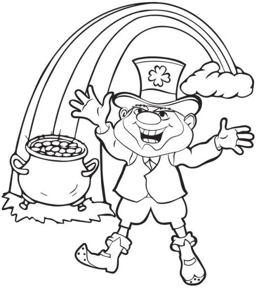 Coloring Pages Of Girl Leprechauns. leprechaun with pot of gold at the end rainbow coloring page Top 6 Leprechaun Coloring Pages for Folklore Lovers