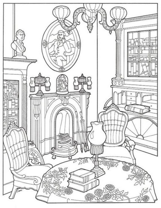 luxury living room coloring page