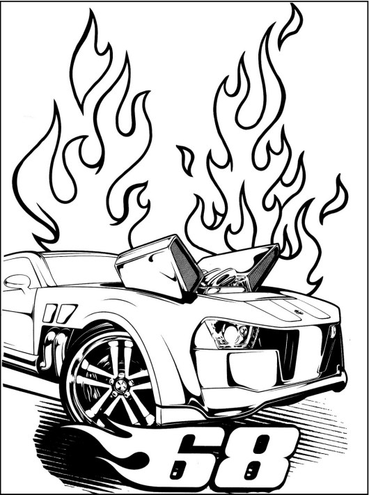 Hot Wheels Coloring Pages Set With Cars Motorcycles And Trucks Wheels Coloring Page