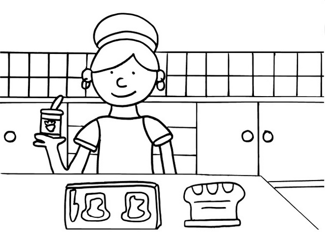mother making sandwich coloring sheet