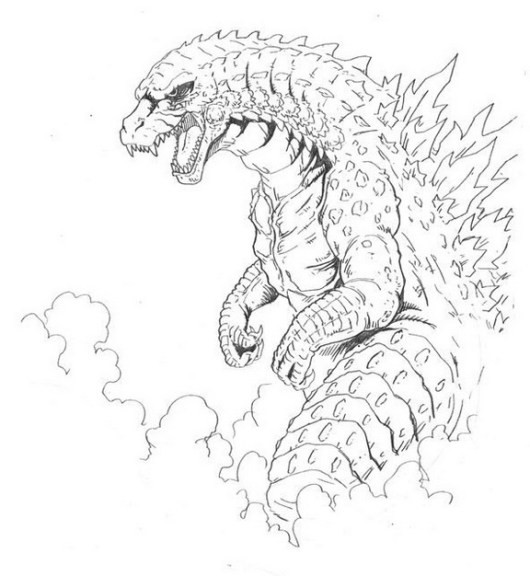 Come to Godzilla Coloring Pages