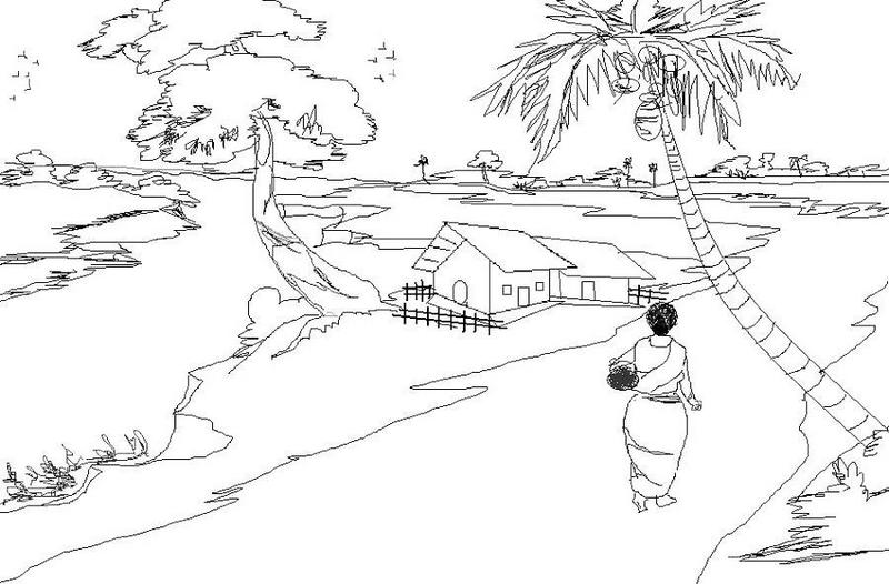 nature scenery village coloring sheet