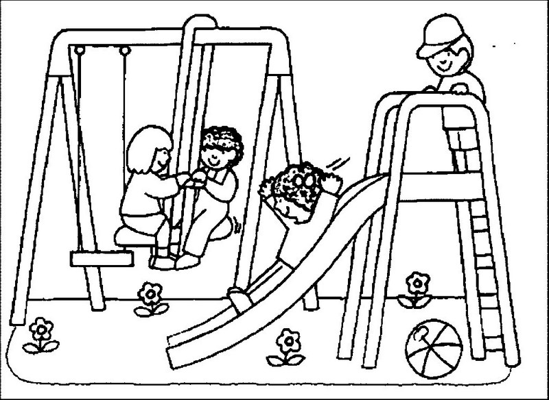 playground equipment coloring sheet for kids