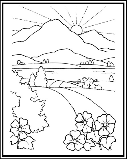 Wonderful Mountain Scenery Coloring Pages For Children Rh Coloringpagesfortoddlers Com Beach Scene Desert