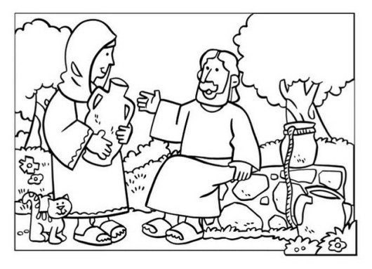 samaritan women at well coloring page children lesson