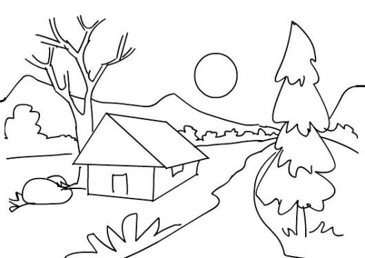 scenery landscape coloring picture. Black Bedroom Furniture Sets. Home Design Ideas
