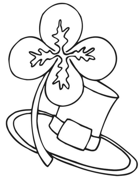 shamrock and hat coloring pages