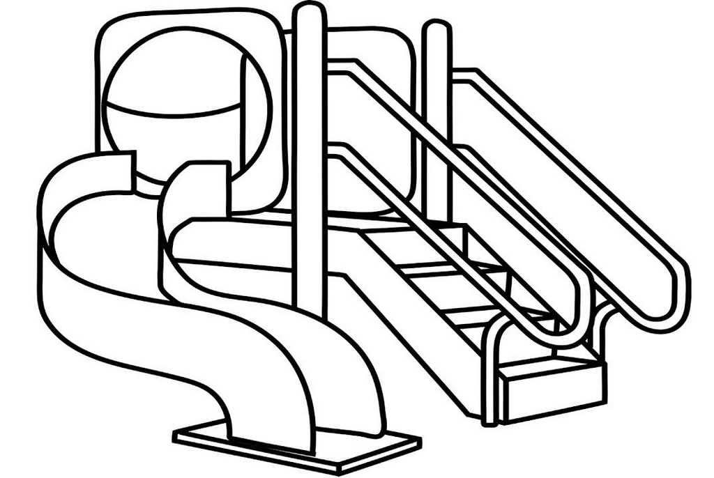 sliding hills playground coloring picture