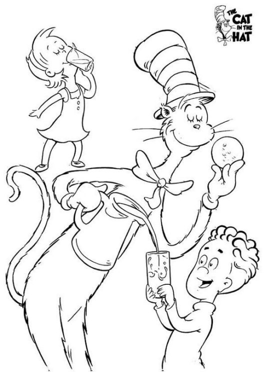 the cat in the hat playing with kids coloring sheet