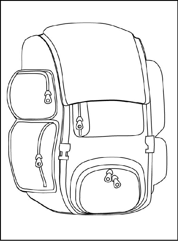 travel backpack coloring picture