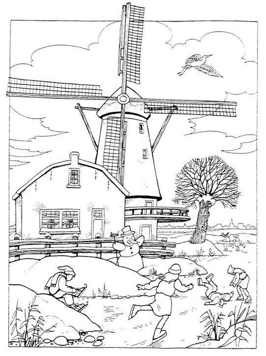 windmill coloring wind energy coloring page