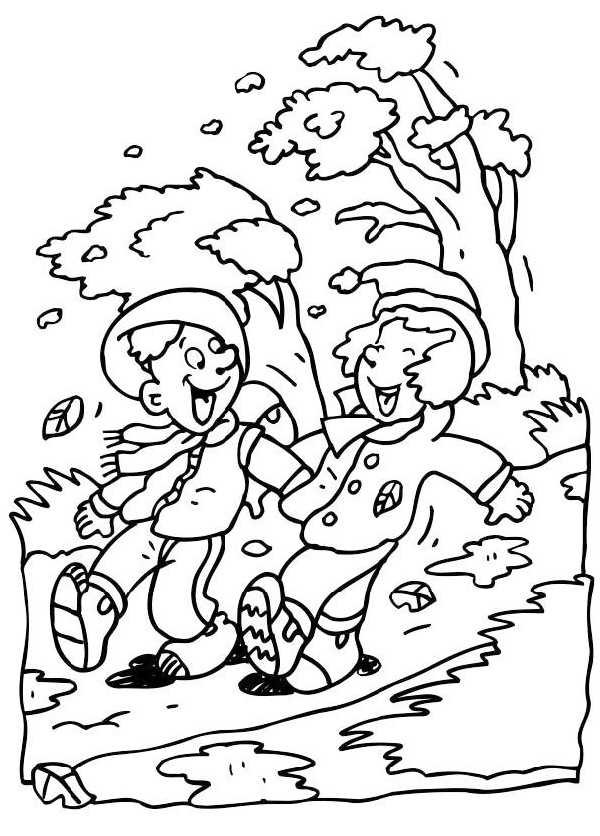 windy day coloring page printable
