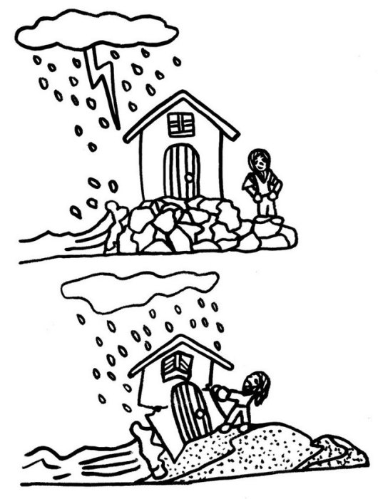 wise and foolish builders coloring sheet