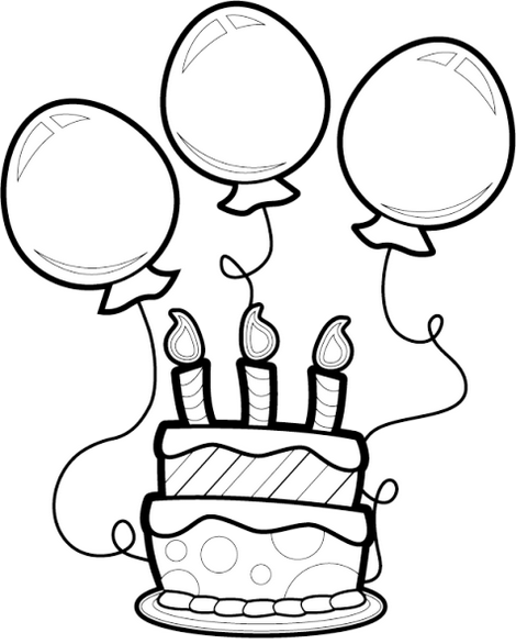 Birthday cake and balloons coloring sheet