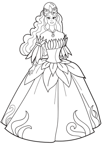 Floral applique wedding dress coloring page