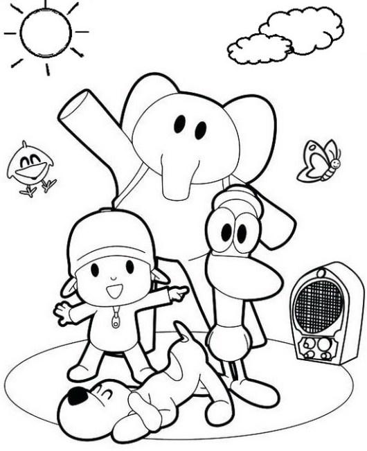 Fun loving pocoyo and friends coloring sheets