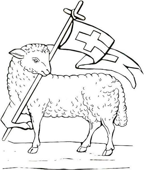 Lamb coloring sheet rescurrection page for kids learning