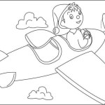 Noddy flying airplane coloring sheet for kids