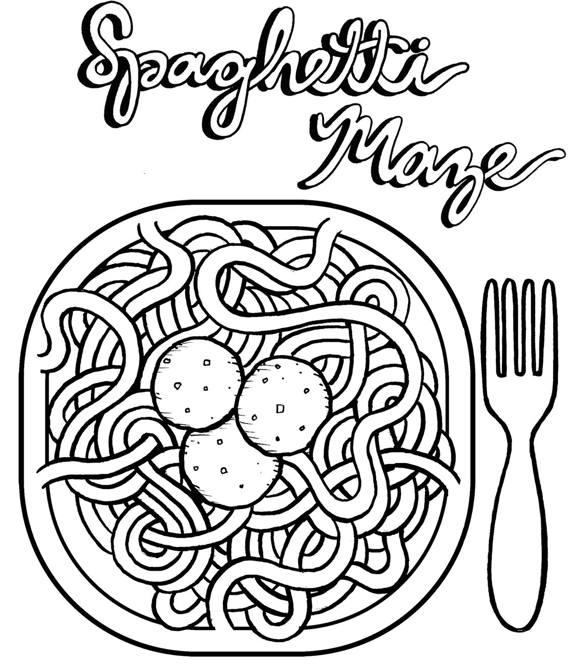 Spaghetti Coloring Page Pages Sketch Coloring Page