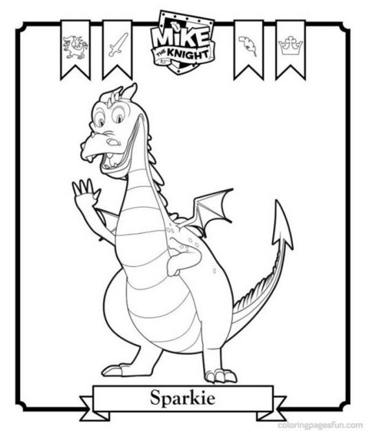 Sparkie Dragon from Mike the Knight Coloring Sheet