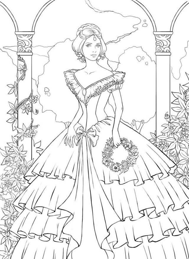 Vintage Ball Gown Wedding Dress coloring pages