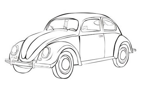 Vw Beetle iconic bug car Coloring Sheet