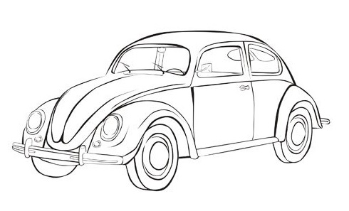 Vw Beetle Iconic Bug Car Coloring Sheet