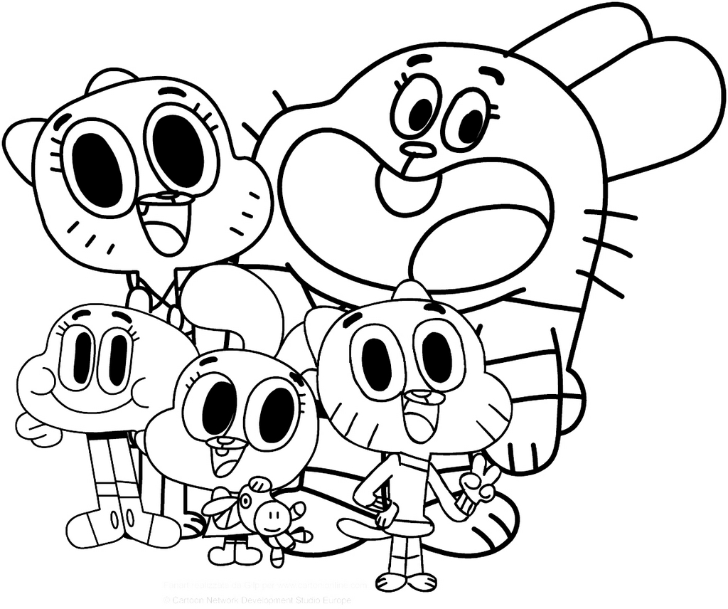 best high detailed family watterson from gumball coloring page