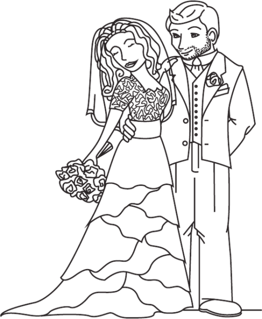 bride and groom in modern wedding theme coloring sheet