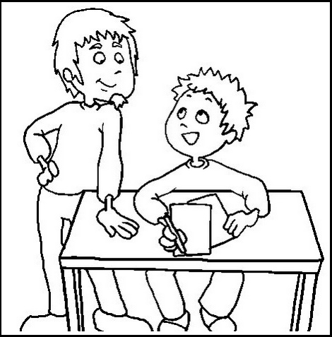 brother guiding to solve homework coloring picture