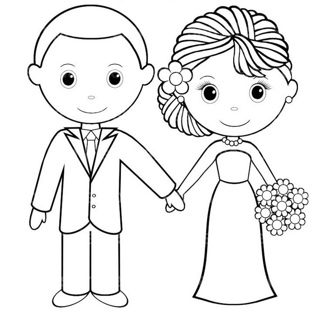 Wedding Bride And Groom Coloring Pages Sketch Coloring Page