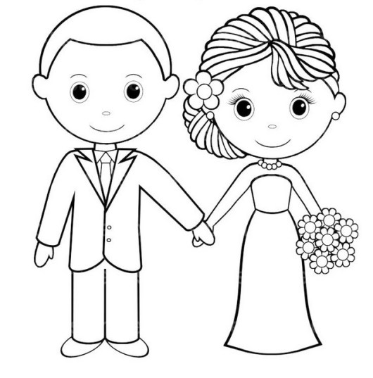 cute bride and groom coloring pages for wedding card
