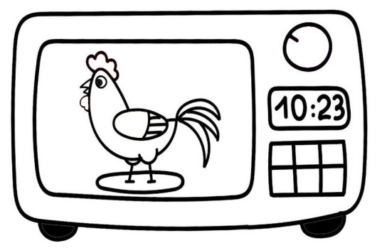 funny microwave cooking chickens coloring sheet for small children