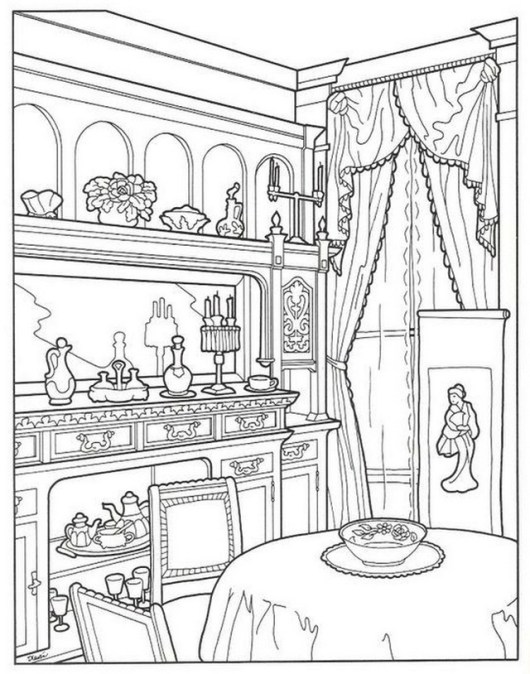 6 Best Cozy And Inspired Dining Room Coloring Pages For
