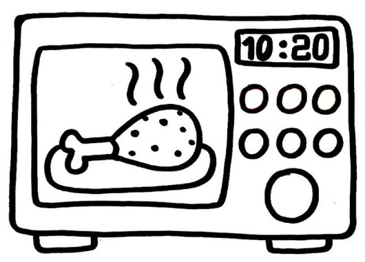 microwave cooking a chicken coloring picture for small children