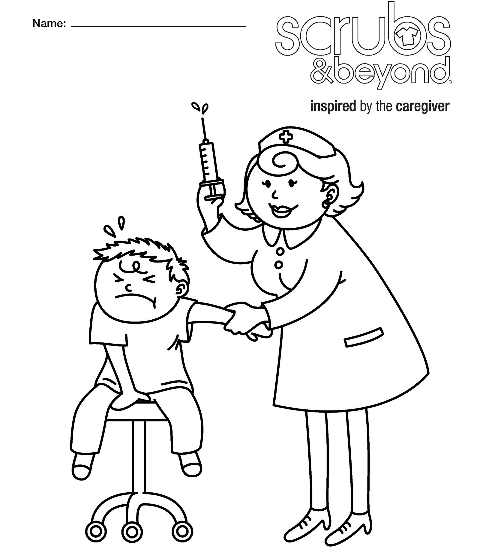 nurse medical equipment coloring sheet