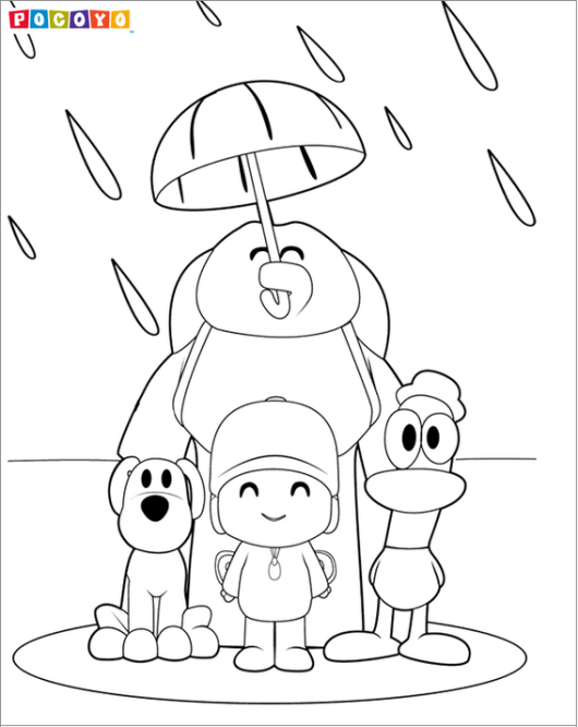pocoyo and friends coloring sheet