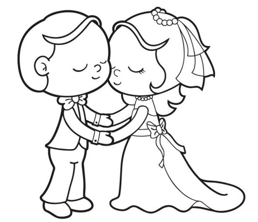 romantic bride and groom coloring page for kids - Bride And Groom Coloring Pages