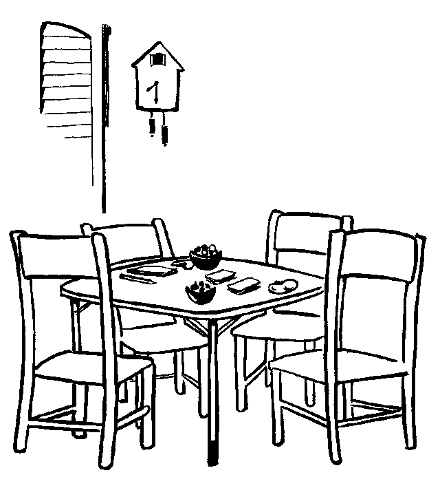 simple dining room line art drawing and coloring sheet